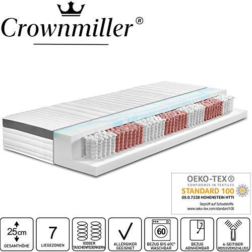 Crownmiller Platin TFK - 7 Zonen 1000er Taschenfederkernmatratze 100x200 cm H2, Höhe ca. 25cm, Bezug bei 60°C waschbar, Oeko-TEX® 100
