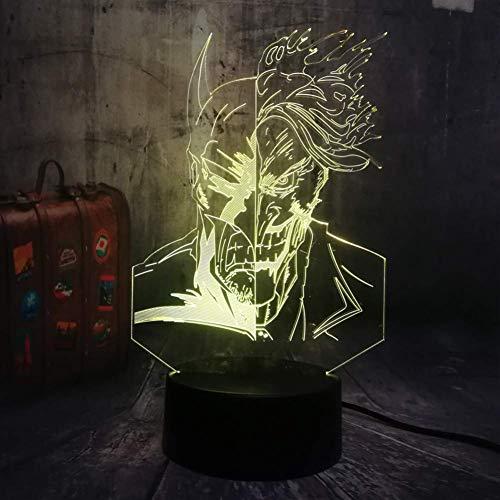 Lampadario A Due Facce Joker Hero 3D Rgb Led Night Light Lampada Da Tavolo Usb Da Tavolo Decorazioni Per La Casa Giocattolo Per Bambini