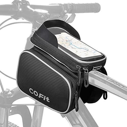 COFIT Borsa Telaio Bici con Nastri Riflettenti, Grande capacità Touch Screen Borsa Bici Telaio con Supporto per Telefono Impermeabile Borsa da Manubrio per Bicicletta (Grigio)