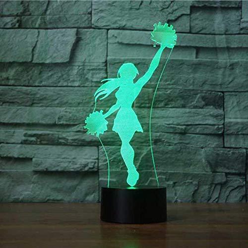 Qaq Starry Skynovità usb Cheerleader model Night Light 3D 7 kleuren visual baby slaapdesk lamp LED Home decor licht fixture rekken voor kinderen
