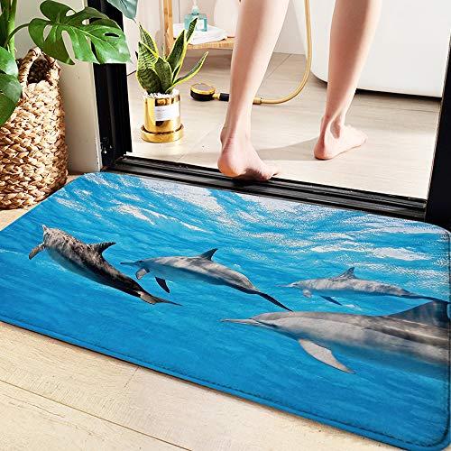 Badematte 60x100 cm,Delphin, Unterwasserfotografie von Delfinen glücklich schwimmen Ocean Animal Life Image P,Memory Foam Badezimmer Badeteppiche Saugfähige Rutschfester Badvorleger Waschbar Badematte