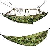 Hamaca Doble con mosquitera 2 Personas Hamaca portátil Ultraligera Adecuada para Acampar Viajes Jardín Patio Trasero Columpio de Ocio al Aire Libre(Color:Camouflage)