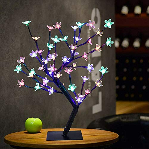 48 LED Tree Lights 45cm Cherry Blossom Tree Light up Bonzie Tree Battery Operated Christmas Tree Flowers Decorative Trees for Indoors Lighted Trees Warm White
