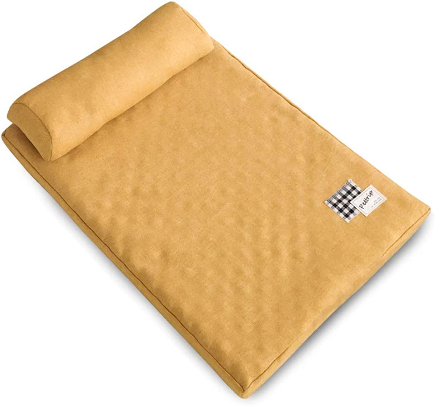 Luxurious And Comfortable Pet Bed, Square Dog Bed Cat Bed Linen Cushions Soft And Comfortable Small, Medium And Large Animals,Beige,M 80  60CM
