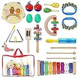 YISSVIC Instruments de Musique pour Enfants, 19Pcs Set Musical Composé de Tambourins, Xylophone, Maracas, Castagnettes, Cymbales,...
