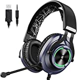 EKSA PS4 Gaming Headset PS4 Xbox One Headset with Noise Cancelling Mic & RGB Light - Gaming Headphones for PC, Laptop, Xbox One Controller (Adapter Not Included), PS4, Nintendo Switch - 3.5mm cable