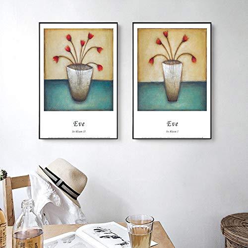 Pinturas de flores clásicas nódicas abstractas carteles impresos en lienzo para habitación Arte de pared de olla moderna para decoración del hogar Cotizaciones de dormitorio 40x55cm-2 piezas s