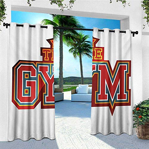 leinuoyi Fitness, Outdoor Curtain Waterproof, Vibrant The Gym Sign with Star Figure Workout Bodybuilding Exercise, for Gazebo W72 x L108 Inch Red Petrol Blue Orange