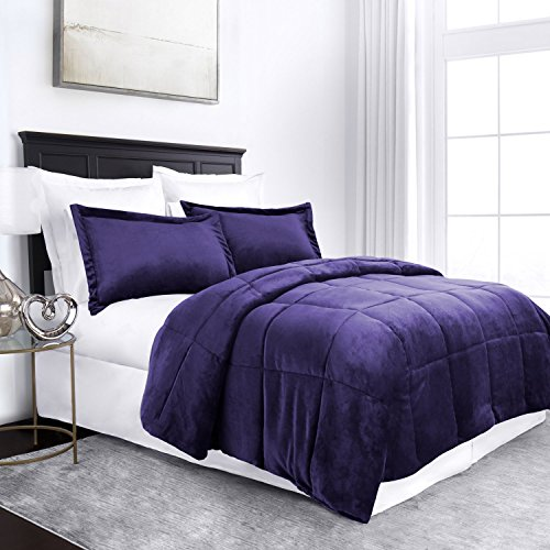 Sleep Restoration Micromink Goose Down Alternative Comforter Set - All Season Hotel Quality Luxury Hypoallergenic Comforter/Blanket with Shams - King/Cal King - Purple