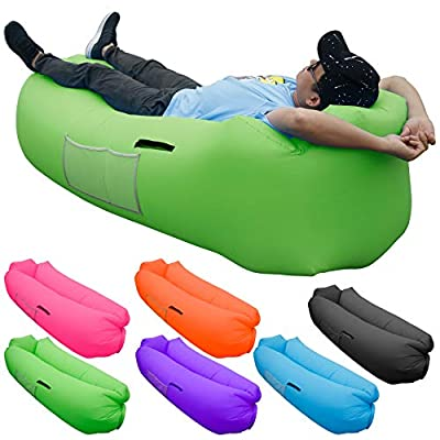 SKOLOO Inflatable Lounger Air Sofa, Portable Water Proof Anti-Air Leaking & Pillow-Shaped Designed Couch for Backyard Pool Travel Camping Hiking Lakeside Picnics Music Festivals Beach Parties,Green