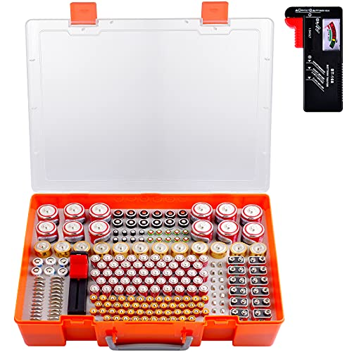 Battery Organizer Case, Battery Storage Holder with Battery Tester Checker. 226 Batteries Garage Organization Container Box Fits for AA AAA C D 9V 23A CR123 Lithium 3V LR44 CR2016 CR1632 CR2032 CR2025