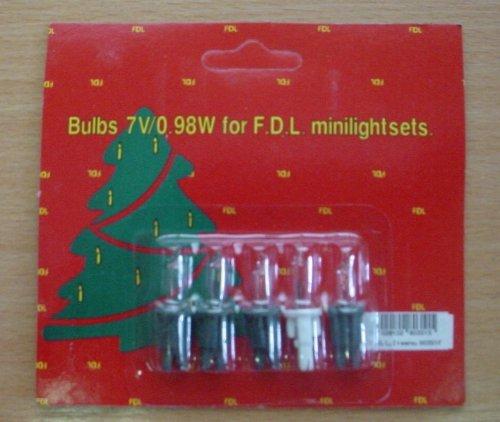 MRS CHRISTMAS 5 Clear Spare Bulbs 4 Green 1 White Base 7v 0.98w (S60)