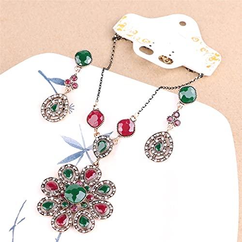 YUANBOO Nuevo Conjunto de Joyas Indias Collares de Color Dorado y Pendientes para Mujeres Amor Crystal Flower Resin Beads Africanos Juego de Joyas (Length : 52CM, Metal Color : Antique Silver Plated)