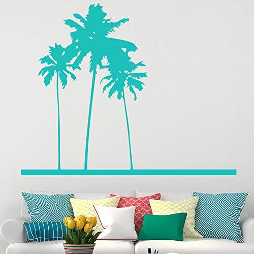 Strand Segeln Kokospalme Wand für Wohnzimmer Wohnkultur Aufkleber Abnehmbare Art Vinyl Schwarz Poster