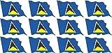 Mini conjunto de banderas que sopla - 50x31mm - autoadhesivo - St Lucia - autoadhesivo -Bandera de la etiqueta engomada - oficina, coche, casa y para la escuela - 12 piezas