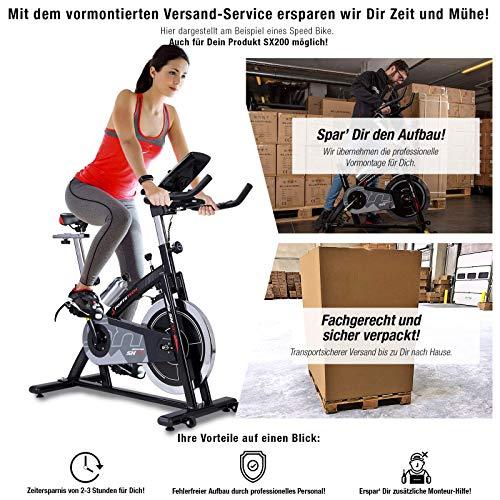 Sportstech Indoor Speedbike SX200 inkl. VORMONTAGE | Deutsches Qualitätsunternehmen | mit Video Events & Multiplayer App | Hometrainer für Fitness zuhause | Heimtrainer-Fahrrad mit 22KG Schwungrad