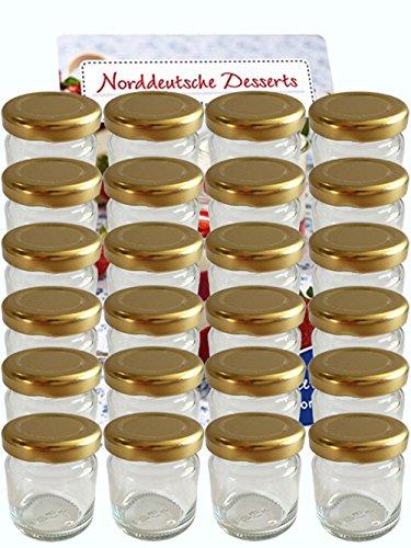 20er Set Sturzgläser Mini Gläser 37 ml Deckelfarbe Gold To 43 Rundgläser Honig Kaviar Marmeladengläser Obstgläser Einweckgläser Senf, Honig, Gläser, Einmachgläser, Portionsgläser, Probiergläser, Imker