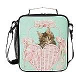 Linda caja de almuerzo con diseño de gatito Maine Coon Gatito, reutilizable, aislante, bolsa térmica para la escuela