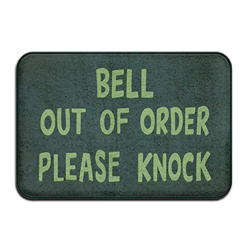 """Zoe Diro Bell Out of Order Please Knock Welcome Door Mat Entrance Mat Floor Mat Rug Indoor/Outdoor/Front Door/Bathroom/Kitchen Mats Rubber Super Absorbent Non Slip 24""""x16"""""""