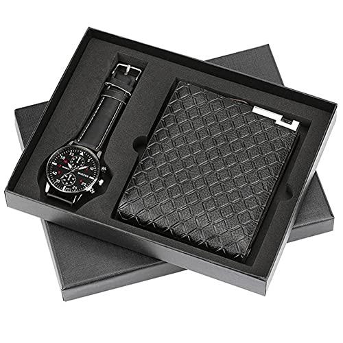 ZOZIZZ Conjunto de Regalos para Hombres Bellamente empaquetado Reloj + Billetera Conjunto de Cuero Creative Combinación Conjunto de Regalo Dulce para su Novio Marido Amante,A
