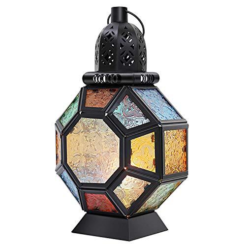 Lewondr Lámpara de Vidrio Colorido, Candelero Marruecos Colorida Portátil, Linterna de Viento Colgante Ligero para Decoración de Hogar, Dormitorio, Salón, Negro + Colorido