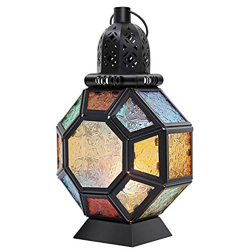 Lewondr Lámpara de Vidrio Colorido, Candelero Marruecos Colorida Portátil, Linterna de...
