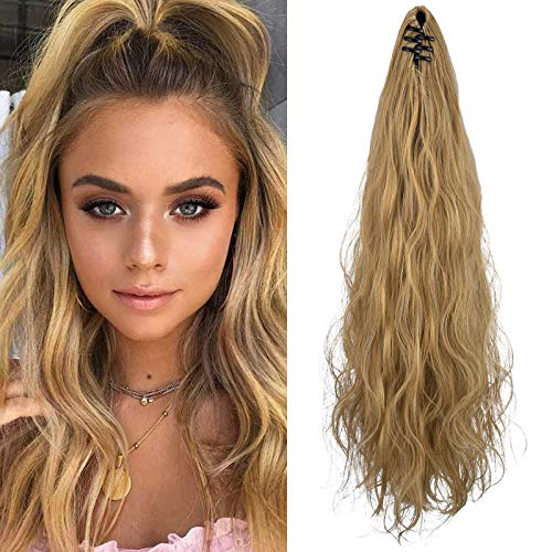 SEIKEA Ponytail Extension Claw Clip 16' 24' Long Wavy Curly Hair Extension Jaw Clip Ponytail Hairpiece Synthetic Pony Tail (24 Inch, Golden Blonde highlights)