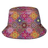 Sombreros de Cubo, Vibrantes Motivos artísticos de Mandala en Cuadrados, Estilo Oriental de Henna, Estilo Patchwork, Unisex, Sombreros de Pescador para Mujeres y Hombres, para protección Solar