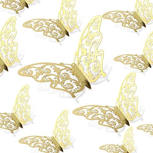 AIEX 24pcs Autocollants Papillon doré 3D 3 Tailles deco doree Décalcomanies Murales Décoration Murale De Chambre pour Chambre Fête Mariage, Or