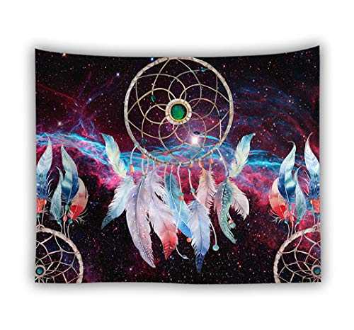 Sticker Superb Romantique Capteur de Rêves Tapisseries Nappe Polyester Fleur Tenture Murale Tapisserie pour Chambre Salle de Séjour Dorm Cour (Espace Extérieur Violet, 100 x 150 cm)