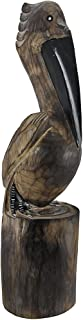 Hand Carved Wooden Pelican Statue Nautical Island