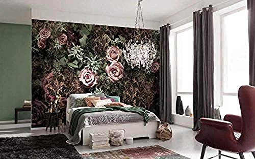 XHXI Rose Cloth Tile Mural Modern Decorative Hd Art Print Poster Picture Photo for Living Room Wall Decoration 3D Wallpaper Paste Living Room The Wall for Bedroom Mural border-350cm×256cm