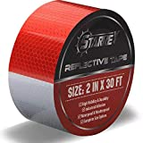 Starrey Reflective Tape Red White 2 IN X 30 FT Waterproof Self Adhesive Trailer Safety Caution Reflector...