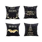 Fossrn Navidad Decoracion - 4PC/Conjunto Fundas Cojines 45x45 Merry Christmas Funda de Cojines para Sofa Jardin Cama Decorativo (Negro)
