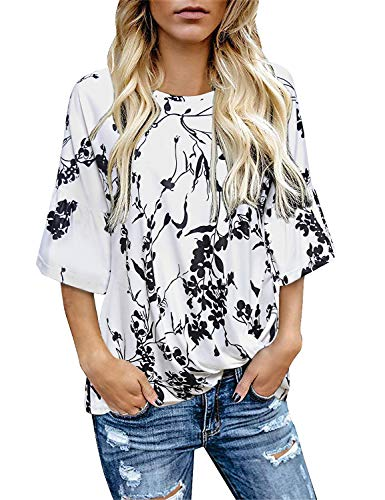 Zulily Tunics for Women, Female Casual Attire Ruffle Short Sleeve Round Neck Twist Knotted Front Pleat T Shirt Blouse Tops Flower Printed White Large