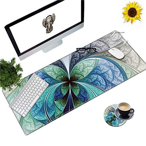 Large Gaming Mouse Pad Office Extended XL Mousepad Non-Slip Soft Keyboard Mouse Mat Home Desktop Writing Pad (31.5'×11.8') with Blue Fractal Flower Design + Cup Coaster and Cute Stickers