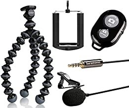 Saramonic SR-LMX1 Lavalier Microphone for iOS and Android Smartphones, iPad + Flexible Tripod with Ivation Smartphone Tripod Adapter and Selfie Remote Controller
