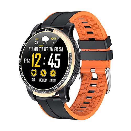 WEINANA Smart Watch Men Bluetooth Llamada 24 Horas Ratio Cardíaco Modo Multi-Deporte Smartwatch para Android iOS Fitness Tracker Smart Pulsera(Color:D)