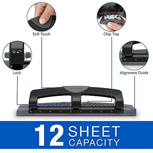 Swingline 3 Hole Punch, Hole Puncher, SmartTouch, 12 Sheet Punch Capacity, Low Force, Black/Gray (74134) 5 Pack Photo #3