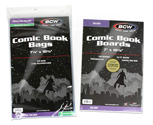(100) Silver Age Resealable Clear Comic Book Bags & Backer Boards by BCW