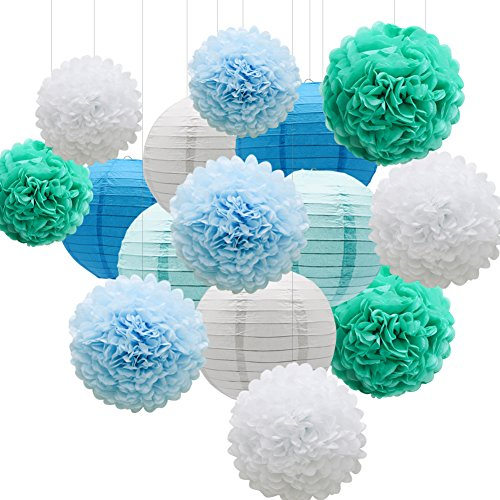 KAXIXI Hanging Party Decorations Set, 15pcs Blue White Paper Flowers Pom Poms Balls and Paper Lanterns for Wedding Birthday Bridal Baby Shower Graduation