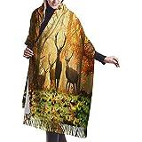 Bufanda de cachemir de ciervos en el bosque Bufanda de mujer de calidad superior Bufanda de abrigo Bufanda de invierno ultra suave Bufanda de silenciador gruesa Debe de invierno