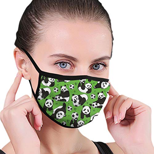 MSGDF Fashion 3D Face_mask_Protect Printed Gesichts-Mund-SchutzFelineFunny Panda Animals Playing with Balls Hand Drawn Style Hearts and Stars