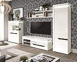 QMM Traum Moebel Wohnwand Anbauwand weiß Hochglanz Wohnzimmer Set C IRIS Mediawand Kredenz TV Schrank LED Soft-Close 2 Farben