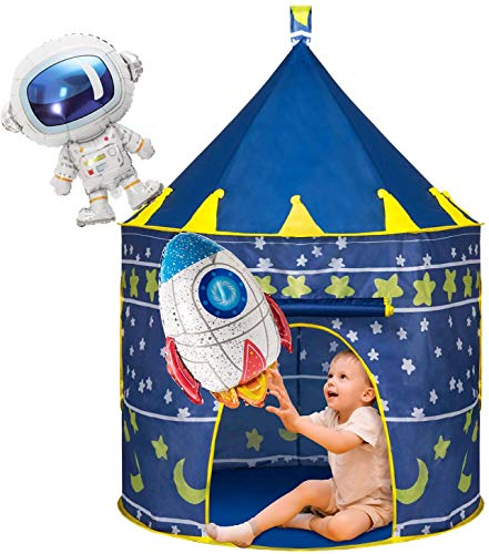 Joyjoz Kinder Spielzelt mit 2 Luftballons, Raumschiff Kinderspielzelt für Jungen Mädchen, Pop Up Zelt Kinder Spielhaus Burg Kinderhaus Indoor & Outdoor
