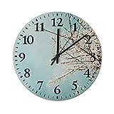 Reloj de Pared de 13 Pulgadas, Relojes de Silencio Que no Hacen tictac, Reloj de Manzano y Cielo Azul, decoración del hogar para Sala de Estar y Dormitorio