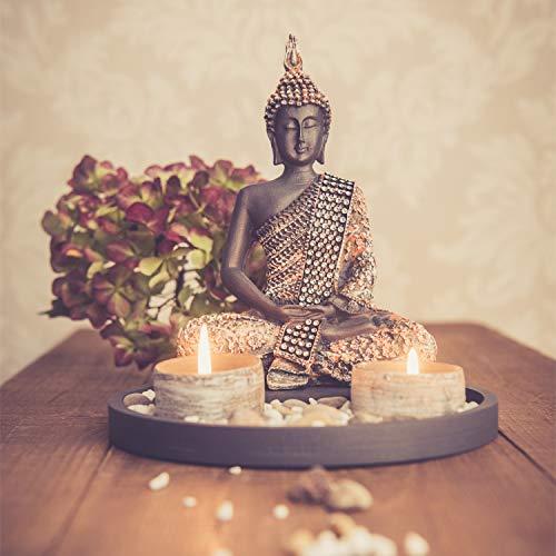 dszapaci Buddha Sitzend mit Teelicht 22cm Deko-Statue für Wohnzimmer oder Bad Zen-Garten Deko-Figur Teelichthalter orientalisch (Nr. 1)