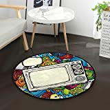 90s Theme Retro Style Office Swivel Chair Mat Round Floor Mats for Computer Desk Gaming Chair Diameter 39.3 in