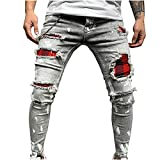2021 Nuevo Pantalones vaqueros para Hombre,Pantalones Casuales Moda Jeans rotos trend largo Pantalones Skinny Pants Pantalon con bolsillos Fitness Jeans Pantalones Largos Cómodo Ropa de hombre