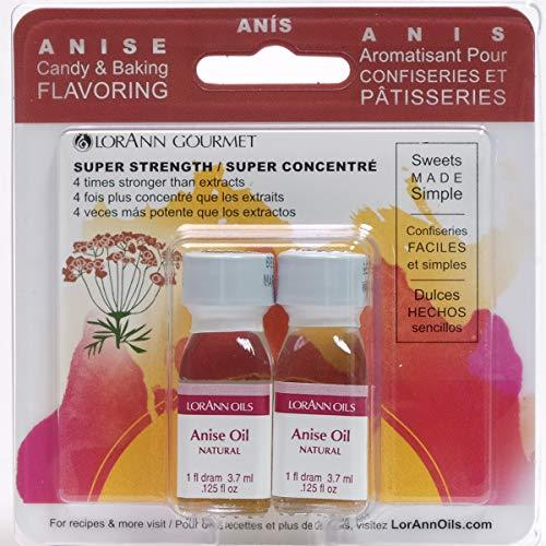 LorAnn Anise Oil Super StrengthNatural Flavor, 1 dram bottle (.0125 fl oz 3.7ml ) - Twin pack blistered